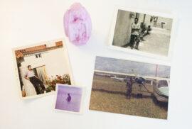 Fotografia a várias fotografias antigas e a uma Nossa Senhora de Fátima.