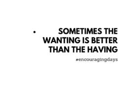 Lembrete: Às vezes o querer é melhor que o ter.
